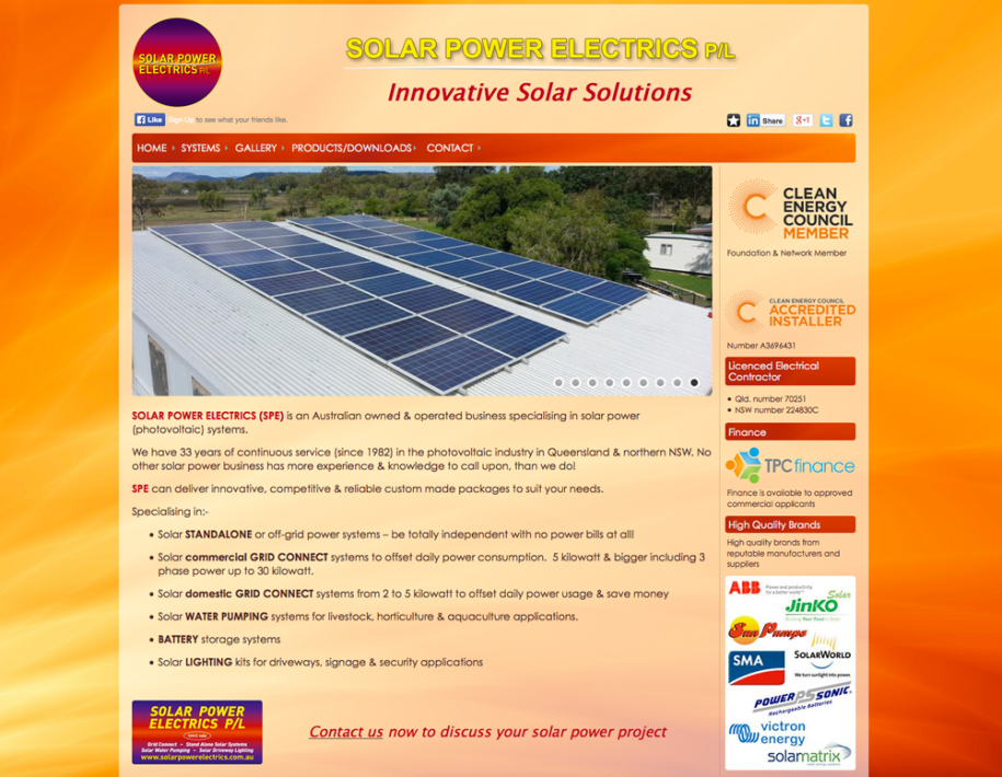 <p>Solar Power Electrics</p> &lt;p&gt; &lt;a href=&quot;http://www.solarpowerelectrics.com/Home&quot; target=&quot;_blank&quot;&gt;Go To Website&lt;/a&gt; &lt;/p&gt;